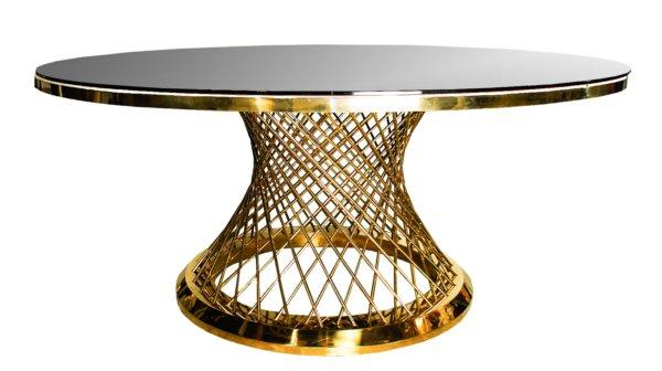 Стол золотой с зеркальной столешницей