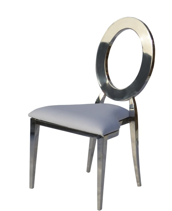 Стул металл серебро с белым сиденьем