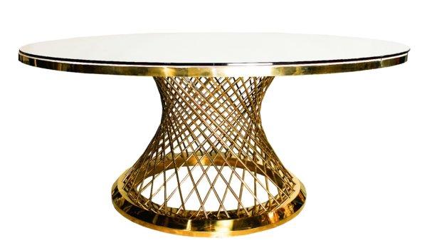 Стол металл золото с белой столешницей